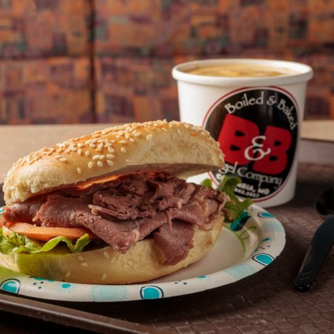 roast beef bagel sandwich